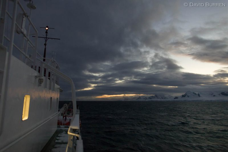 A March dawn as we sailed south along Antarctica's Gerlache Strait.